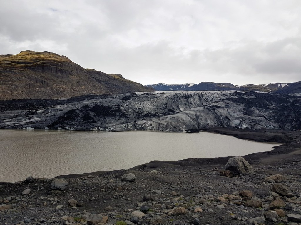 A melting glacier on our Iceland bus tour