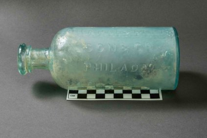 "19th-century pharmaceutical bottle from VanDeventer-Fountain House. Embossed label reads ""Charles Ellis Son & Co Philad"" (Photo by Norm Eggert for NMSC)"
