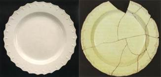 Left: Feather edge on white salt-glazed stoneware, found in Skerry and Hood 2009. Right: feather edge on creamware, found in Walford and Massey 2007.
