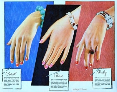 "1930s advertisement showing ""moon manicures."" Photo found online (pinterest)."