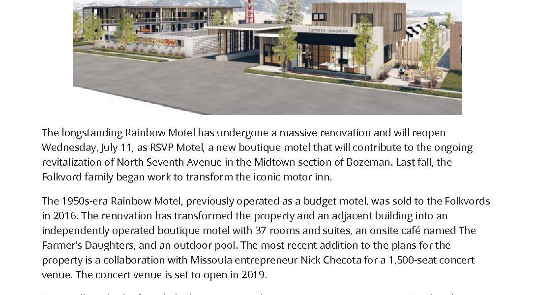 Bozemans Rainbow Motel Reborn as RSVP Motel