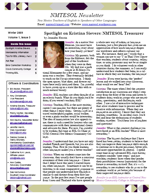 NMTESOL Newsletter Winter 09