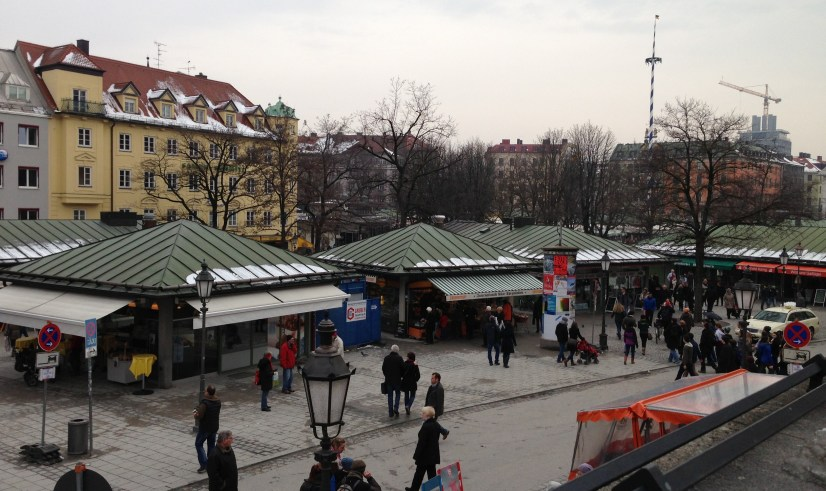 Viktualienmarkt, March 28. Cold, moist, and cloudy.