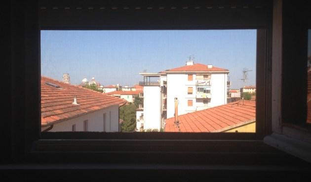 My view upon waking up in my friend's living room. The Tower is on the left.