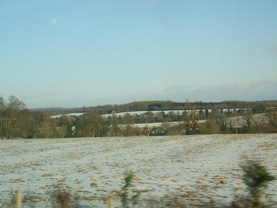 snow (yes, its still exciting) on the fields of north Hampshire, maybe south Berkshire.