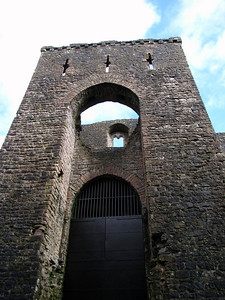 The imposing north entrance to Chepstow Castle, currently closed.