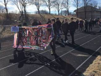 Over 1,200 students of Rufus King International High School participated in the planned walkout. (Photo by Evan Casey