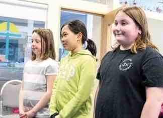 Students Elizabeth Gillard, left, Ann Huynh and Kate Burt met with Yellowknife Catholic Schools board members last Wednesday night to talk about what they've learned in a new maker space classroom. - Kirsten Fenn/NNSL photo