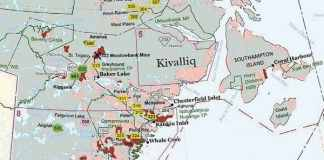 This map shows one gold-producing mine and numerous other gold-exploration sites in the Kivalliq region as of 2016. - photo courtesy of GN, INAC, and NTI