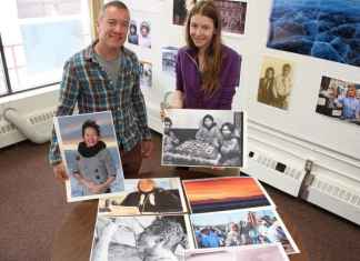 David Stewart, from the Inuvialuit Communications Society, and Elizabeth Kolb, Arctic Image Festival Coordinator, encourage the community to come out and support Northern photographers at this weekend's Arctic Image Festival. - Stewart Burnett/NNSL photo