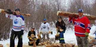 Northwest Territories residents have been uploading their best hockey fan photos to raise money for the Fort Good Hope Cancer fund. From left, Damien Haogak, Tori Haogak, Melinda Laboucan, Cheyenne Haogak and Andy Carpenter. photo courtesy of Melinda Laboucan.