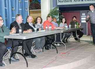 Eight of the nine candidates vying for a spot on the Yellowknife Education District No.1 board of trustees attended an election forum held at Sir John Franklin, Wednesday night. From left are Jay Butler, Al McDonald, John Stephenson, Ozgur Oner, Al Shortt, Satish Garikaparthi, Tina Drew, and Rajiv Rawat. At far right is moderator David Wasylciw. Simon Whitehouse/NNSL photo.