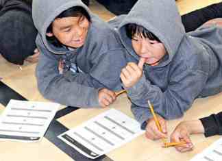 Grade 7 students Mike Nanordluk, left, and Kelvin Mablik think about their answers for the Map Activity Station during a Giant Map of Canada Day at Tuugaalik High School in Naujaat on Oct. 10, 2018. Photo courtesy Julia MacPherson