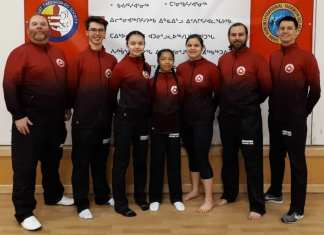 Eight members of the Iqaluit Taekwondo Society will be on their way to Melbourne, Australia next month to take part in the inaugural Chan Hun International Taewkondo Federation World Championships as part of Team Canada. They include, from left, coach Matthew Smallacombe, Nicholas McDermott, Jennifer Ellsworth, Daniella Calamayan, Catriona Popoff, Christopher Gerlach and Curtis Lu, who was in Iqaluit for a training session late last month. Missing from the photo are Alex McDermott and Eileen Duffy. photo courtesy of Maryse Mahy