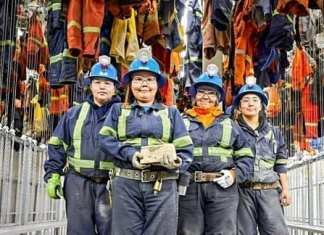 Truck-and-scoop operators, from left, Gloria Kaludjak, Beth Napayok, Hannah Pilakapsi and Angela Misheralak display the first gold dore poured at the Meliadine gold mine near Rankin Inlet on Feb. 21, 2019. Photo courtesy Agnico Eagle Mines