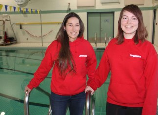 The staff at the Hay River Swimming Pool - including aquatics supervisor Ashley Coombs, left, and senior lifeguard Jesse Vogt - welcomed the reopening of the pool on March 9. Paul Bickford/NNSL photo