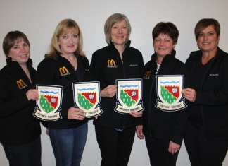 The rink of Sharon Cormier, left, Cheryl Tordoff, Heather Bilodeau, Wendy Ondrack and Marta Moir won the women's crown at the NWT Seniors Curling Championships in Hay River on March 2. They beat the Hay River rink skipped by Debbie Stanley in a best-of-five series, 3-0. Paul Bickford/NNSL photo