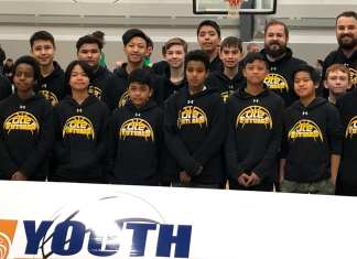 The DT Futures basketball program was in Edmonton earlier this month for the Alberta Basketball Youth Provincials. They are, front row from left, Jonathan Aine, Jozuard Mercado, Dave Bajada, Francesco Stefanos, Jericho Jimenez, Charles Yatco, Liam Bursey and Aldon Gavina; back row from left, Connor Mackenzie, Brendan McCallister, Ben Constant, Rave Panela, Dylan Kozian, Lydell MacNab, Jacob Mitchener, coach Mike Callas and coach Cole Marshall. photo courtesy of Cole Marshall