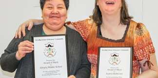 Qitiqliq Middle School principal Doreen Hannak, left, and teacher Juanita Belhauzin display the Awards of Merit they received from the Kivalliq Science Educators Community for the outstanding job the school did hosting the Kivalliq Regional Science Fair in Arviat from March 15-17, 2019. Photo courtesy Kivalliq Science Educators Community