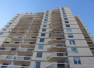 The Mackenzie Place highrise remains empty of tenants following a fire on the 11th floor on March 15. NNSL file photo