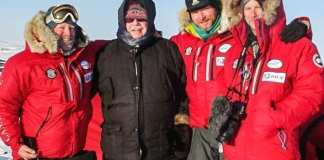Tuugaalik High School Principal Aubrey Bolt, second from deft, with members of the Scottish Arctic Return Expedition team on the land near Naujaat in April of 2019. Photo courtesy Department of Education