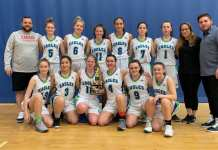 The Deton Cho Eagles girls high performance basketball squad wrapped up its club season this past Sunday by finishing second in the U17 silver division at the Volvo 120 Hoops Showcase in Edmonton. They are, front row from left, Taya Straker, Naomi Yukon, Emma Willoughby, Meadow Munroe, Kaitlyn Kenny and Lilly Newberry; back row from left, head coach Aaron Wells, Mali Straker, Denae Lafferty, Mia MacInnis, Elle Mitchener, Drew Wolfe, Lili Casaway, assistant coach Claire Mennell and assistant coach Scott Green. photo courtesy of Benji Straker