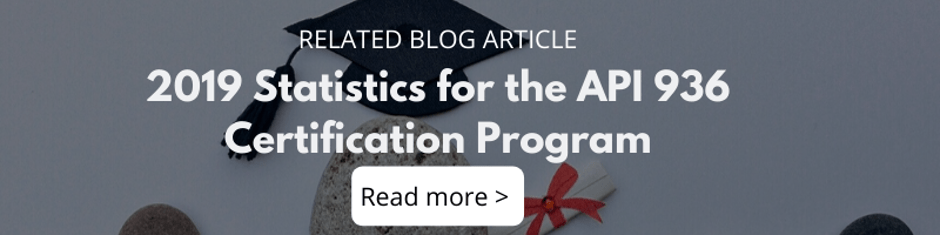 2019 Statistics for the API 936 Certification Program