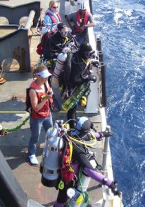 NOAA Divers at the rail of the ship just before a dive