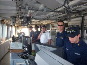 The Captain and Officers working on the bridge during Sea and Anchor