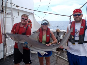 Drew, Travis, and I with a sandbar shark