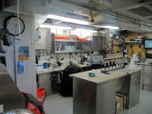 The Wet Lab. Scientists study the ocean water, use microscopes, and dissect fish stomachs in this lab.