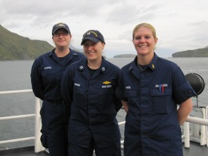 NOAA Corps Officers - Rene, Sarah, and Amber taking a break from their duties to pose for a picture.