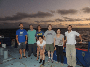 Enjoying one of our last sunsets: Keith (Scripps), Bob Weller (WHOI), me, Jamie Holte (WHOI), Ursula Cifuentes (Concepcion), Sebastien Bigorre (WHOI), and front, Pamela Labbe also fromChile