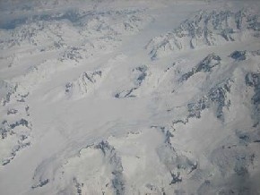 View out the window of the plane to Petersburg