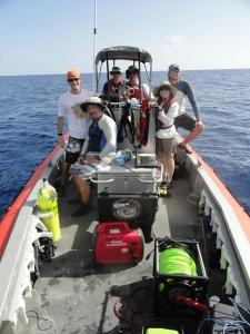 Marine science team with Mrs. Kaiser after deploying the ROV.