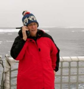 Calling my students.  You can see in the background that there is much more ice than a few days ago.