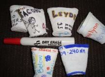 Styrofoam cups after their trip on the CTD