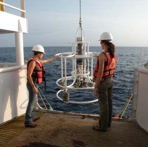 Scientists deploying the CTD