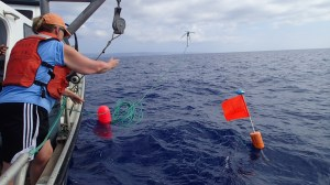 Throwing the grappling hook to catch the buoy line