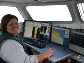Here I am manning the computers onboard the launch used to collect sonar depth and bottom information in the Pavlof Islands, Alaska.