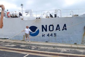 NOAA Teacher at Sea, Laurie Degenhart, gets ready to set sail on the DELAWARE II.