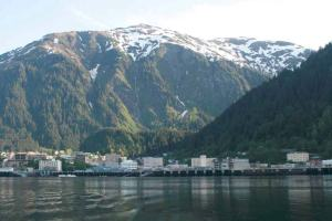 A view of the town of Juneau, Alaska taken from the JOHN N. COBB as the ship began its journey.