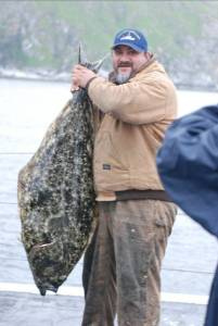 Andy and lunch—a nice halibut!