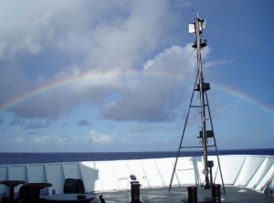 An anuenue (Hawaiian for rainbow) at sea