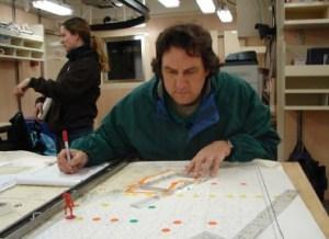 NOAA TAS Scott Donnelly charting a marine navigational heading