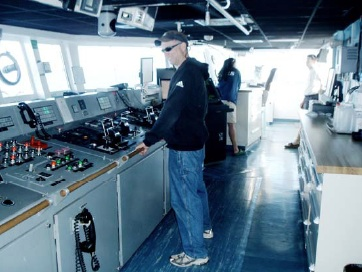 Here I am at the helm of the Brown.