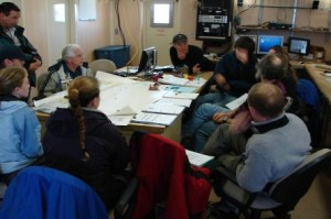 Science team meeting in the dry lab aboard NOAA ship McARTHUR II