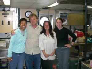 TAS Jill Carpenter (far right) with NOAA Program and Management specialist Jeannine Cody, Chief Scientist Bill Michaels, and Fisheries Biologist Karen Bolles on board