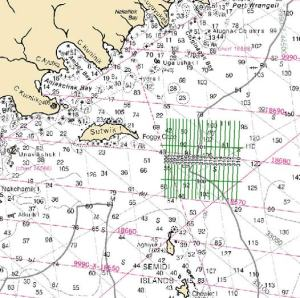 Hydrography survey lines in green