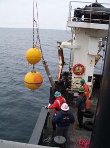Deck crew of the OSCAR DYSON retrieving sensors from a buoy.